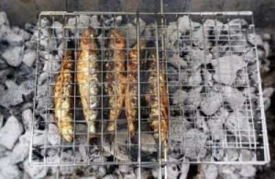 Grilled Sardines on BBQ Charcoal by Theo Michaels