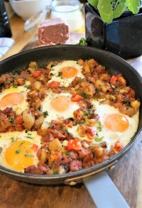 Corned Beef Hash Recipe with Baked Eggs by Theo Michaels