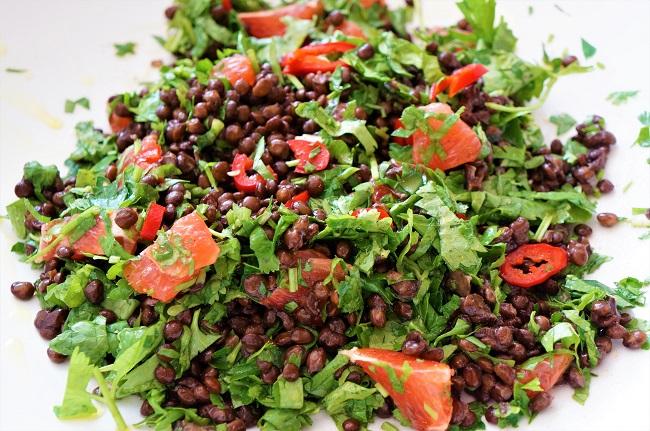 Greek Lentil Salad Recipe with Pink Grapefruit