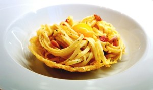 Spaghetti Carbonara Recipe by Theo Michaels served in parmesan basket