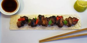 Pork Kebabs with Asian Spice (Greek / Chinese Pork Belly Souvlaki) by Theo Michaels