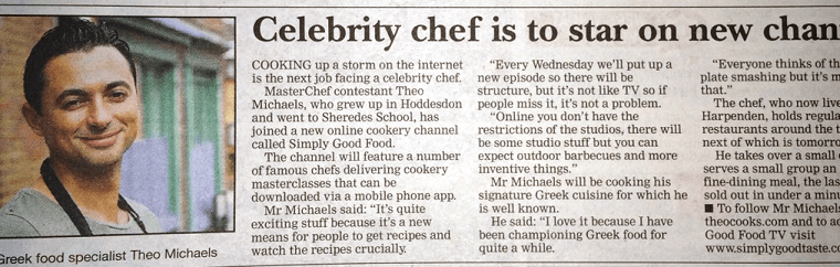 Mercury Newspaper – Celebrity Chef To Star In New Channel (that's me btw..)