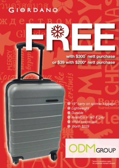 Giveaways by Giordano: Luggage with purchase