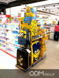 Despicable Me Movie Marketing- Free standing POS display attracts clients