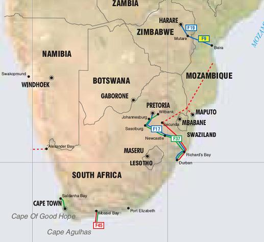 South Africa, Mozambique and Zimbabwe oil, gas and products   pipelines map - Click on map to enlarge