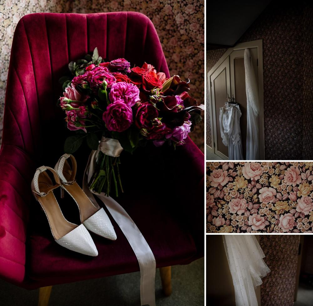 Brides pink tone wedding flowers and details