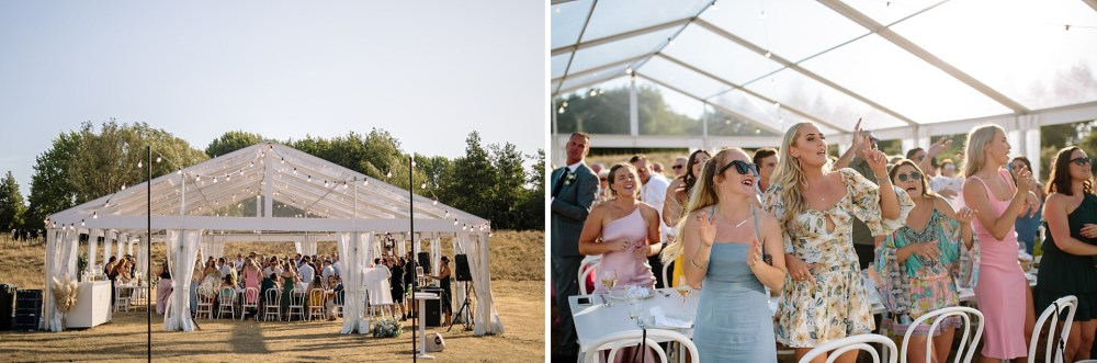twelve tables clear marquee Reception setup