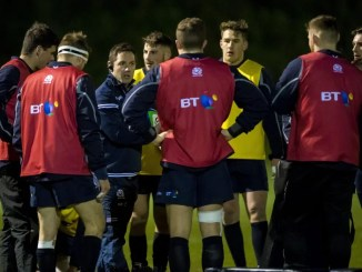 Head coach Rob Chrystie with the Scotland Club XV squad.