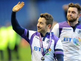 Greig Laidlaw salutes the Scotland suppporters at the end of the game. Image: ©Fotosport/David Gibson.