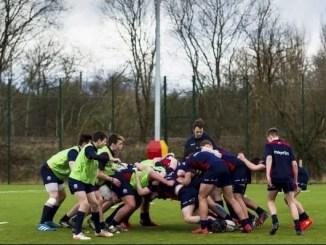 Scrummage practice at the recent Scotland U16 Training Camp at Burnbrae