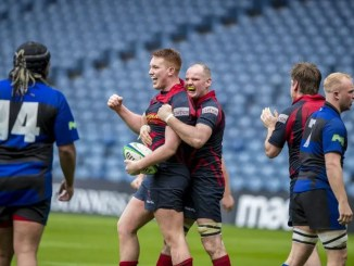 Ross Sutherland's Andy MacKay celebrates scoring his team's second try