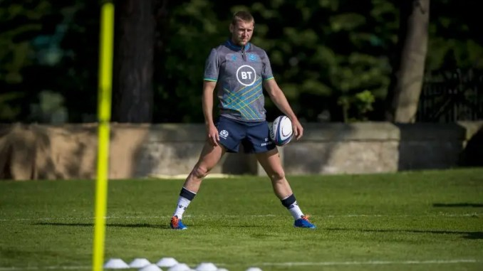 Finn Russell at the Scotland squad training camp in St Andrews.