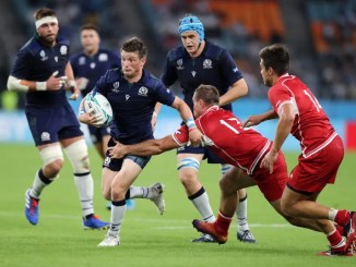 George Horne became the first Scottish scrum-half to score a hat-trick in a Test international against Russia.