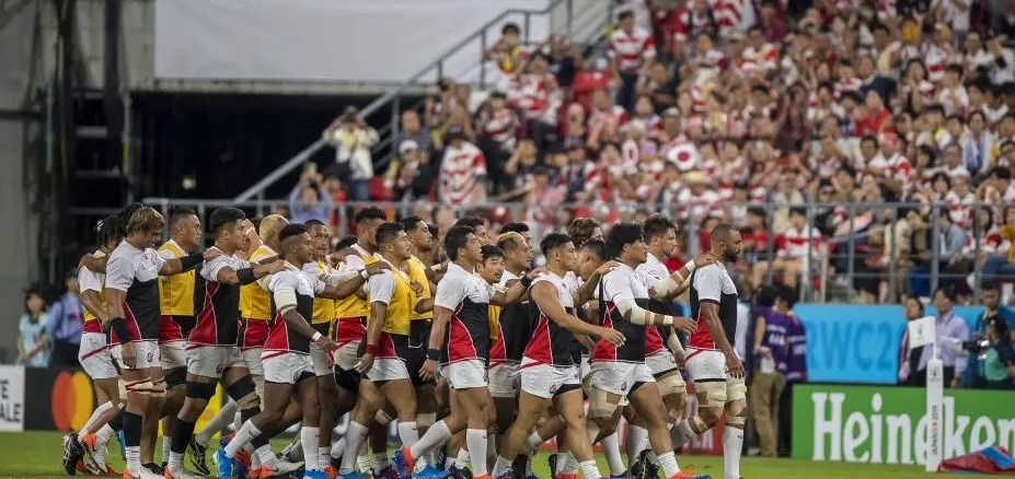 Japan show their togetherness ahead of Saturday's World Cup pool clash against Samoa.