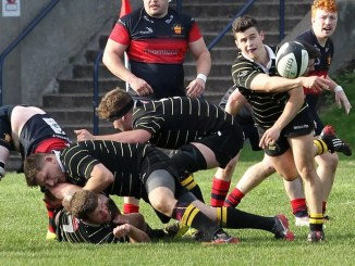 Melrose in action during last week's win at Dundee HSFP. Image: Douglas Hardie