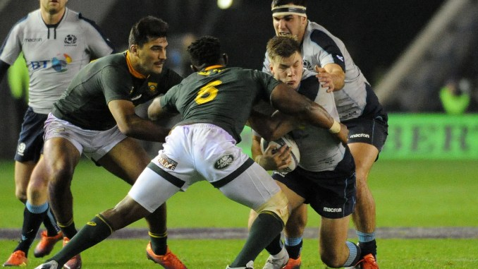 Huw Jones in action for Scotland against South Africa in November 2016. Image: Fotosport/David Gibson