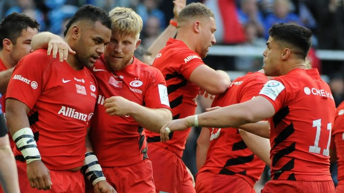 Saracens defeated Racing 92 to edge ahead of Glasgow Warriors into the Champions Cup quarter-finals. Image: Fotosport/David Gibson