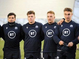 Huw Jones (second left) at a Scotland training session with Sam Johnson, Kyle Steyn and Jamie Ritchie.