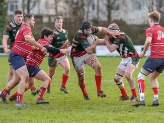 GHA Captain Jamie McCarthy, drives forward during his team's defeat to Aberdeen Grammar. Image: Joyce Robinson