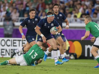 Scotland flanker Hamish Watson carries against Ireland during last year's World Cup clash.