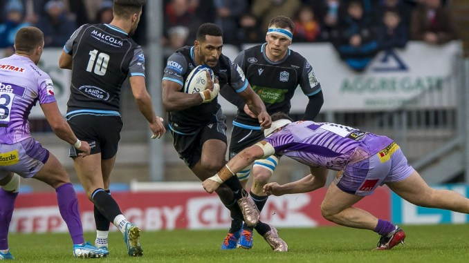 Ratu Tagive in action for Glasgow against Exeter.