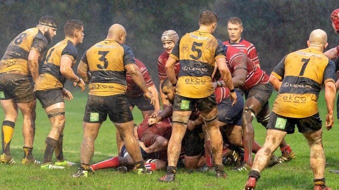Aberdeen Grammar and Currie Chieftains both deserve medals for producing a compelling game of rugby in atrocious conditions. Image: Fraser Gaffney