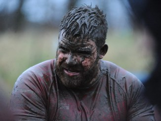 Musselburgh second-row Paddy Brown knew he had been in a mud fight at the end of a fiercely contested draw at Stoneyhill. Image: David Gibson/Fotosport