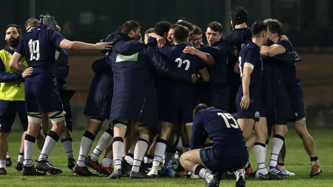 The Scotland Under-20s team celebrate victory over Italy. Image: David Gibson / Fotosport