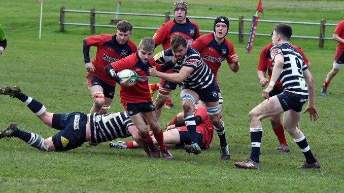 Jack Gaw carries the ball for Newton Stewart against Glasgow Accies. Image: Jo Wallace