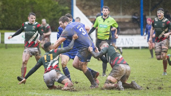 Jed-Forest prop Harry Medals was player of the match at a sodden Riverside. Image: Bill McBurnie