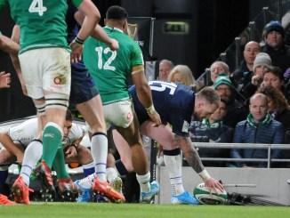 Scotland captain Stuart Hogg attempts to regather the ball as he crosses the line. Image: FOTOSPORT / DAVID GIBSON