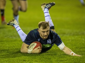 Nathan Chamberlain scores the first of his three tries as Scotland Under-20s finished their Six Nations in style against Wales. Image: © Craig Watson - www.craigwatson.co.uk