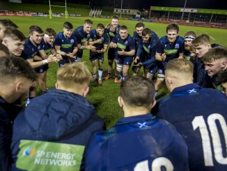 The Scotland Under 20's squad celebrate at full time of their remarkable win over Wales on Friday. Image: © Craig Watson - www.craigwatson.co.uk