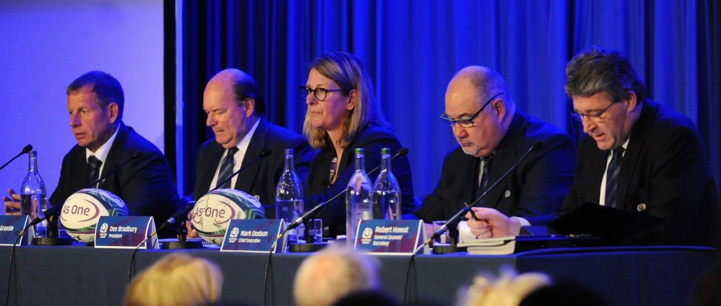 SRU Vice President Ian Barr, Chairman of the Scottish Rugby Board Colin Grassie, SRU President Dee Bradbury, Chief Executive Mark Dodson and Scottish Rugby General Counsel Robert Howat at the 2019 AGM. Image: Fotosport/David Gibson