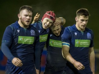 Nathan Chamberlain is congratulated by Jack Blain after scoring the third of his three tries in Scotland Under-20s' big win over Wales during the Six Nations. Image: © Craig Watson - www.craigwatson.co.uk