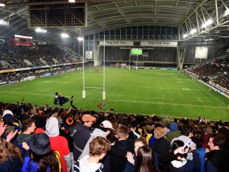 A view from 'The Zoo' at Forsyth Barr Stadium in Dunedin as rugby returns in all its glory to New Zealand. Image: Fotosport / Joe Allison