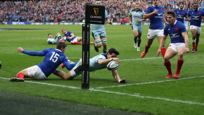 Sean Maitland scores for Scotland against France during the 2020 Six Nations. Image: FOTOSPORT/DAVID GIBSON