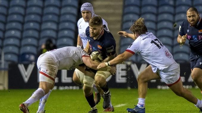 Edinburgh's Luke Crosbie is tackled by two Ulster players. Image : © Craig Watson - www.craigwatson.co.uk