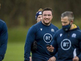 Zander Fagerson during training with the Scotland squad ahead of taking on Ireland on Saturday. Image: © Craig Watson - www.craigwatson.co.uk