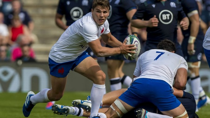 Antoine Dupont in action against Scotland during a warm-up match at Murrayfield for the 2019 World Cup. Image: © Craig Watson - www.craigwatson.co.uk