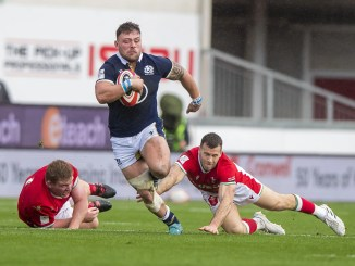 Rory Sutherland on the rampage for Scotland during October's victory over Wales in Llanelli. Image: © Craig Watson - www.craigwatson.co.uk