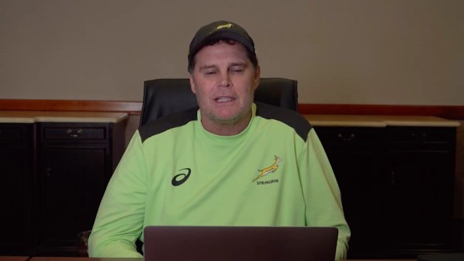 Rassie Erasmus during his extraordinary 62 minute monologue to camera airing various gripes about how the first Springbok versus Lions Test was officiated