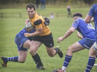 Adam Hall carries the ball for Currie Chieftains against Jed-Forest. Image: Bill McBurnie