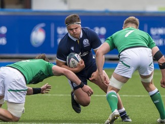 Patrick Harrison carries the ball for Scotland versus Ireland during the 2021 U20s Six Nations Championship in June. Image: © Craig Watson - www.craigwatson.co.uk