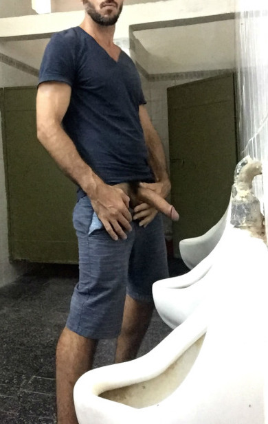 Pissing gay man cock public first