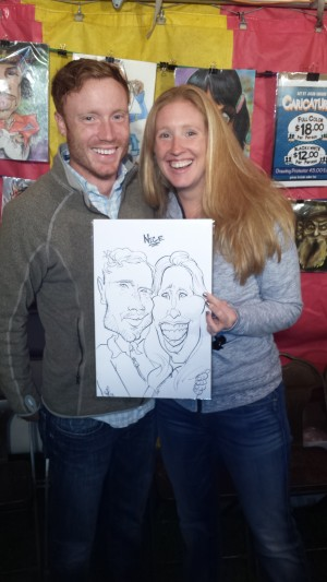 Couple caricature at Leinenkugel's Oktoberfest in Chippewa Falls WI