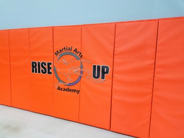 rise up martial arts logo printed on wall pads