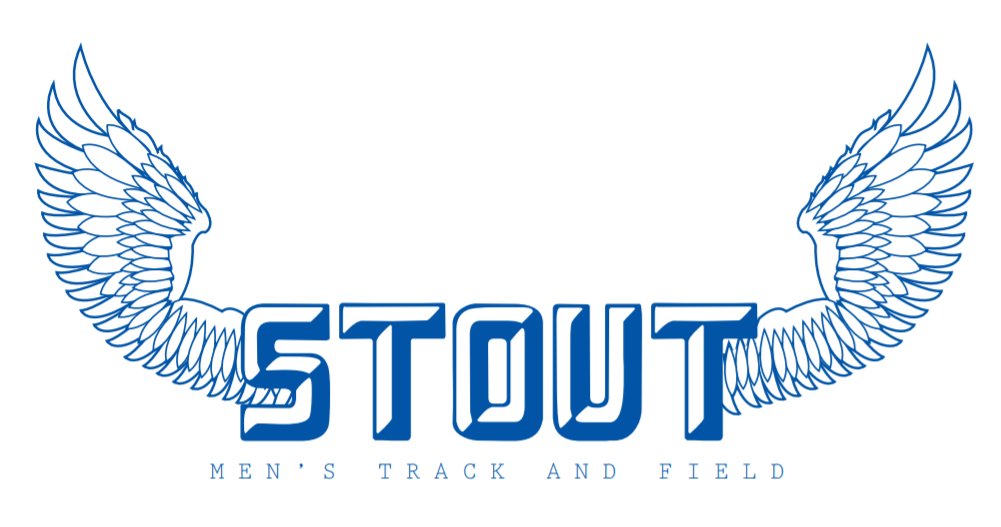 Stout track and field logo vector wings