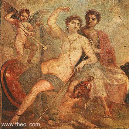 Venus (Aphrodite), Ares (Mars) & Cupid (Eros)   Roman fresco Pompeii