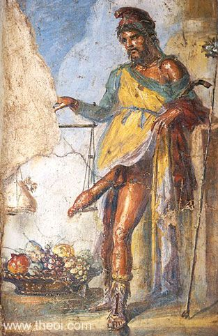 Priapus, fertility god, weighing his phallus & fruit | Roman fresco Pompeii